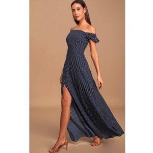 Polka Dot Off the Shoulder High Slit Maxi Dress